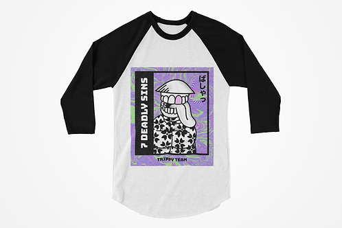 Trippy Team Raglan T-shirt in Black & White by 7 Deadly Sins Clothing