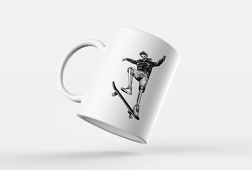 Skateboarding Skeleton Tattoo Print Mug