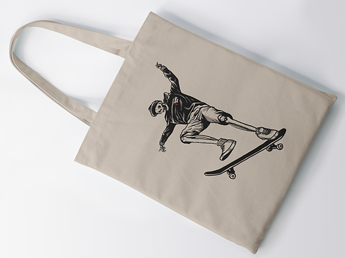 Skateboarding Skeleton Tattoo Tote
