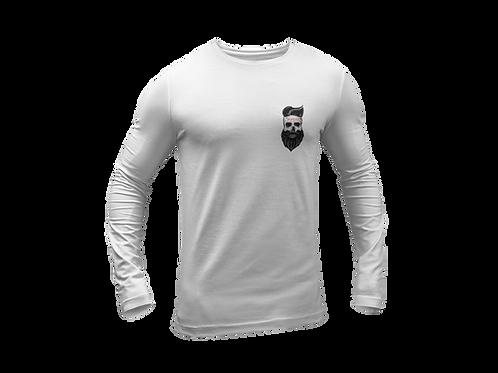 Bearded Skull Tattoo Chest Print Long Sleeve White T-shirt
