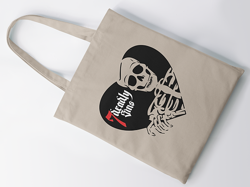 Skeleton Heart Tote Bag by 7 Deadly Sins Clothing