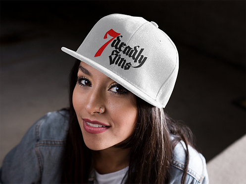 White SnapBack Hat with 7 Deadly Sins Logo