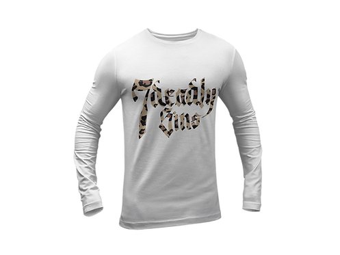 Leopard Print Logo Long Sleeve T-shirt in White by 7 Deadly Sins Clothing