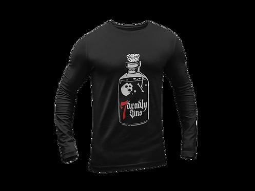 Poison Bottle Tattoo Black T-shirt Long Sleeve
