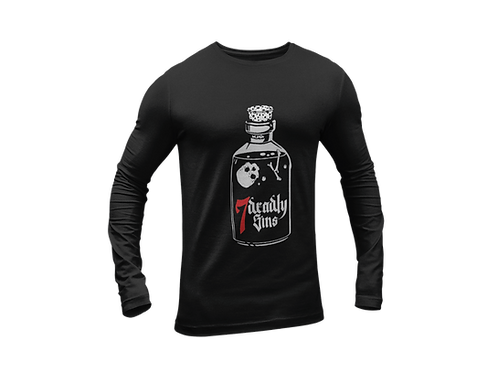 Poison Bottle Tattoo Black T-shirt Long Sleeve