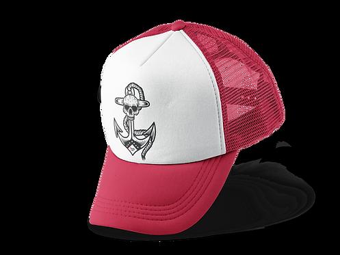 Anchor Skull Trucker Hat Red