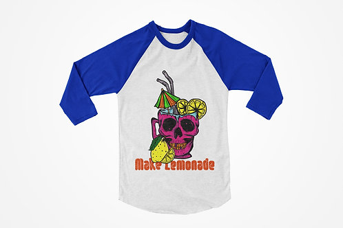 Make Lemonade Raglan T-shirt in Blue & White