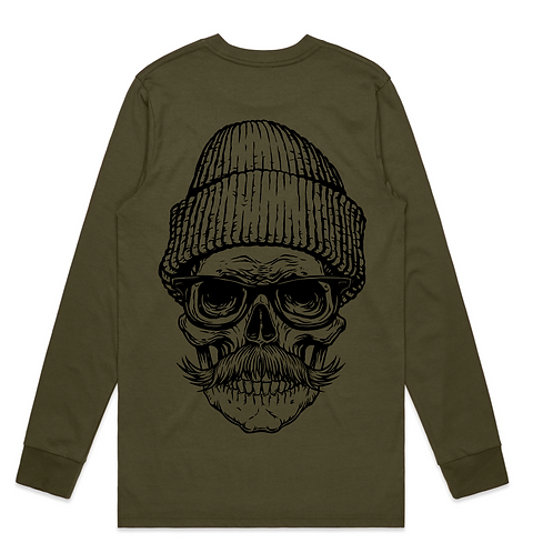 Moustache Skull Tattoo Streetwear Long Sleeve T-shirt