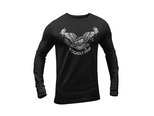 Eagle & Flowers Chest Print Long Sleeve T-shirt in Black