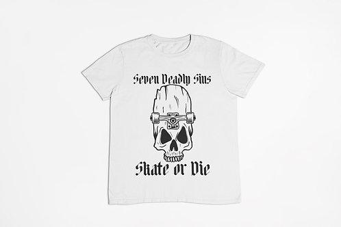 Skate or Die Tattoo T-shirt in White
