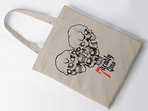 Heart of Skulls Tattoo Print Tote Bag
