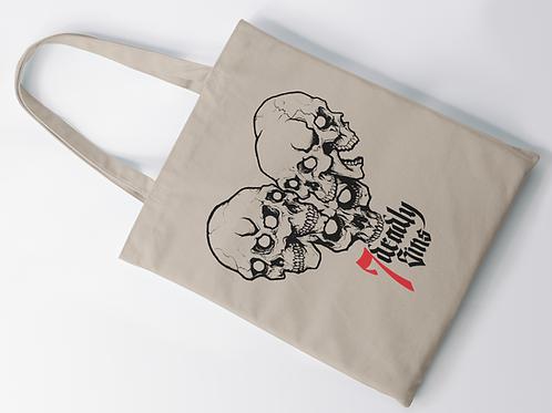 Heart of Skulls Tattoo Print Tote Bag