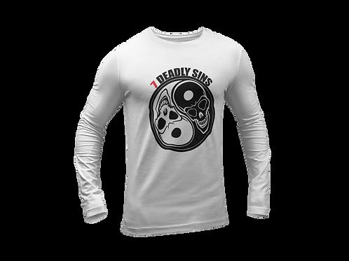 Ying & Yang Skulls Long Sleee White T-shirt Tattoo Clothing