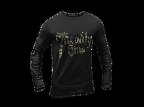Camo Logo Long Sleeve Black T-shirt