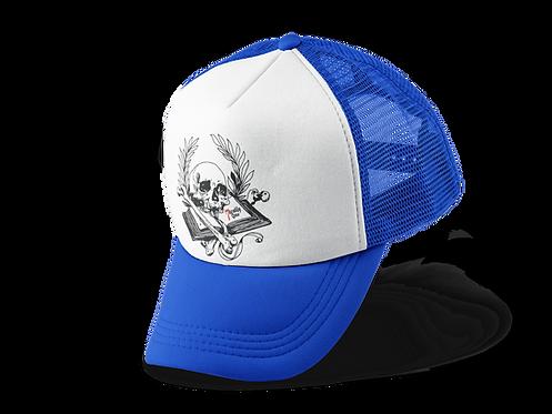 Book of Mortality Trucker Hat in Blue
