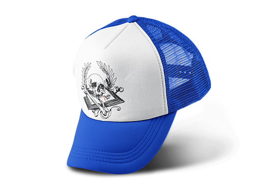 Book of Mortality Trucker Hat in Blue