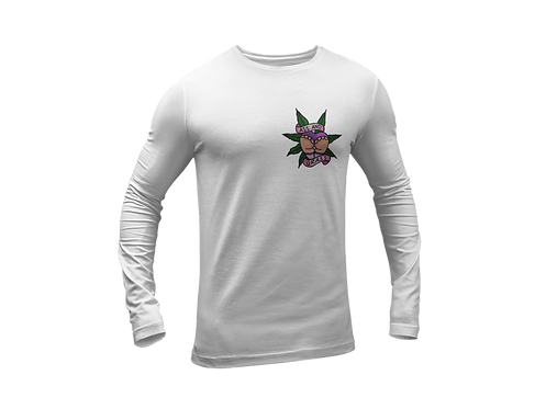 Ass n Grass Tattoo Print White T-shirt with Long Sleeves