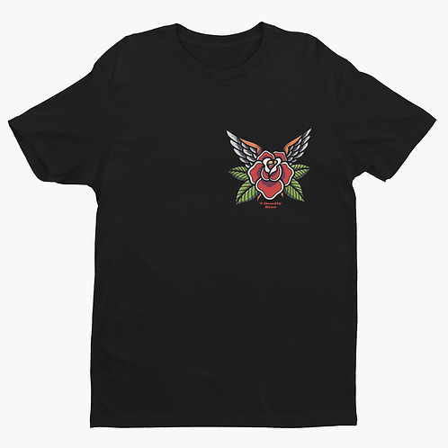 Winged Rose Traditional Tattoo Inspired Graphic Tee