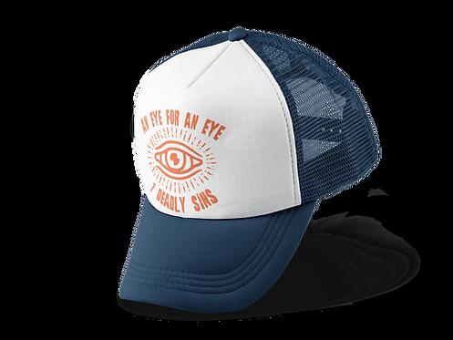 An Eye For An Eye Tattoo Print Navy Trucker Hat