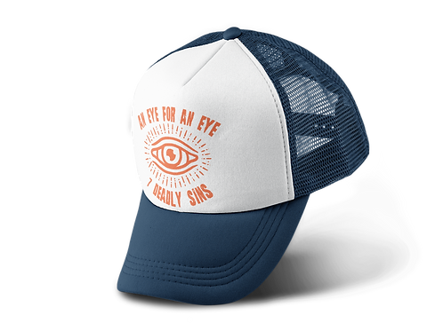 An Eye For An Eye Tattoo Print Navy Trucker Hat
