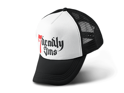 Black Trucker Hat with 7 Deadly Sins Logo