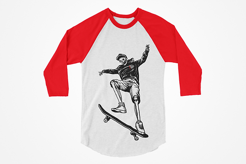 Skateboarding Skeleton Raglan