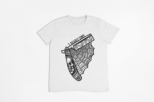 Razor Tattoo Unisex T-shirt in white by 7 Deadly Sins Clothing