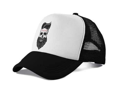Bearded Skull Trucker Hat in Black