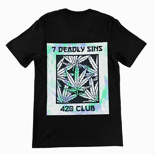 420 Club Back Print Black T-shirt by 7 Deadly Sins Clothing