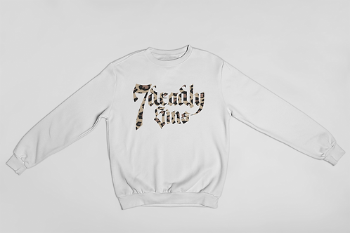 Leopard Print Logo Sweatshirt in White