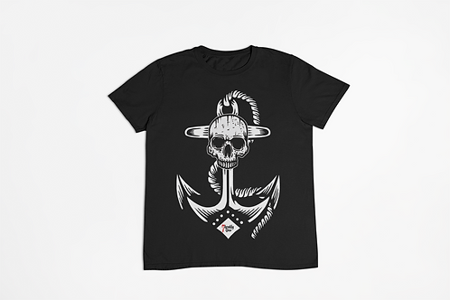 Black T-shirt with Anchor Skull Tattoo Print