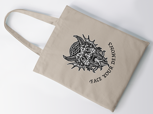 Face Your Demons Tattoo Print Tote