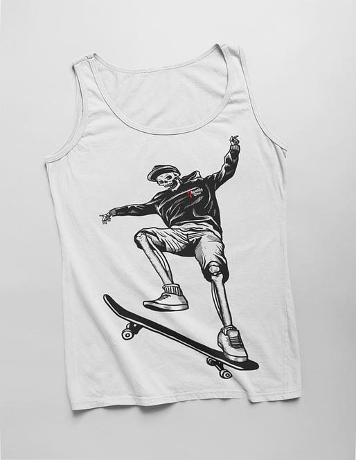 Skateboard Skeleton White Tank