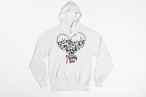 Heart of Skulls White Hoodie