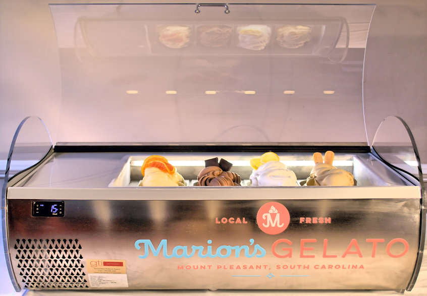 Marion's Gelato classic modern display case for rent.isplay