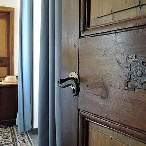 wood door in historic bed and breakfast