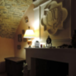 chimney in dining room guesthouse