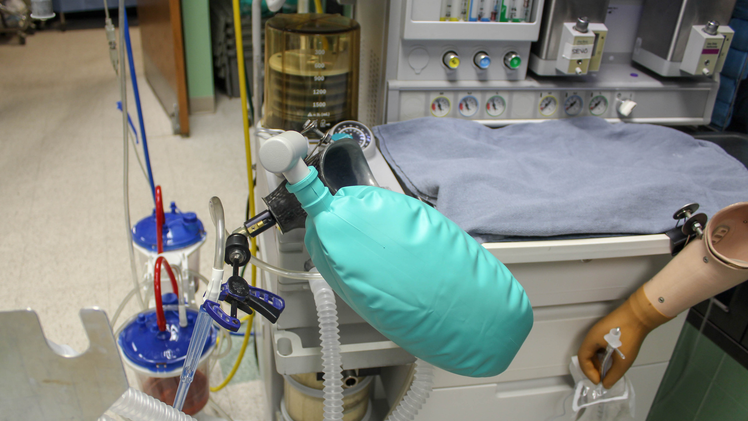 Brett prepares his tools before a procedure so he ready to respond to his patients' needs