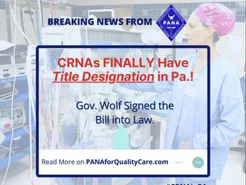 CRNA Professional Designation Bill Signed into Law