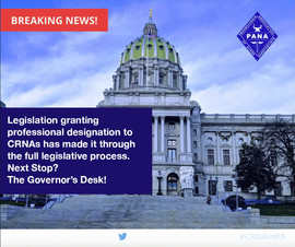 CRNA Professional Designation Measure Passes General Assembly, Sent to Governor for Enactment