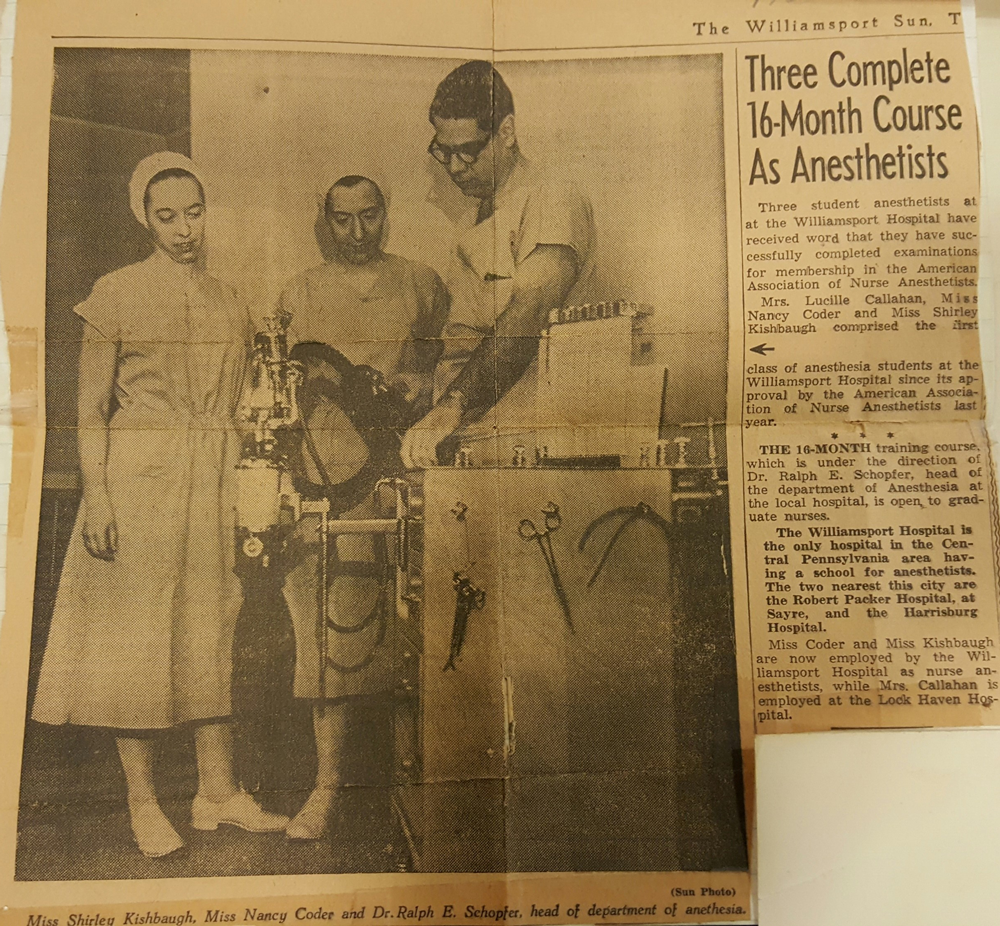The Williamsport Sun-Gazette reports on Shirley's certification as a nurse anesthetist in 1954.