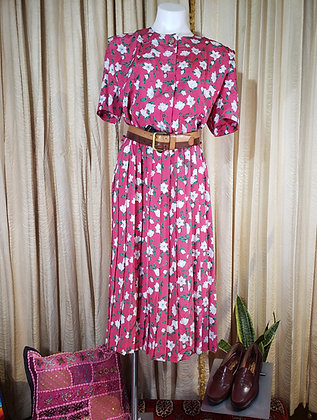 1980's floral pleated dress