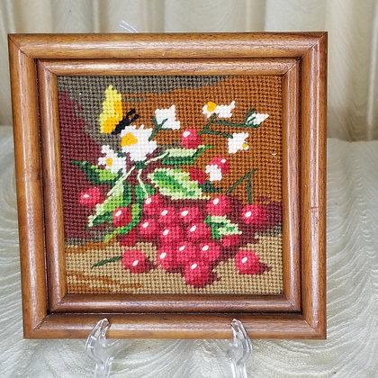 """Framed Needlepoint Berry Art 6"""""""