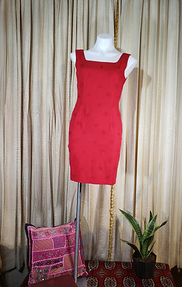 1990's Liz Claiborn red embroidered mini