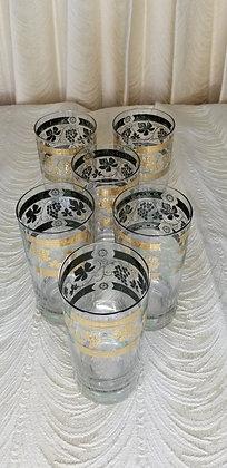"Set of 6 Green & Gold Grapeleaf 5.5"" Glasses"