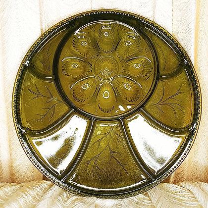 Indiana Green Glass Deviled Egg Platter