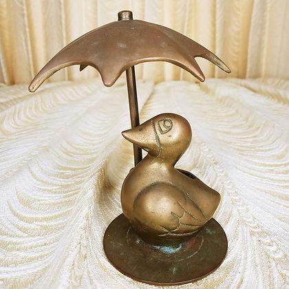 Brass Duckie with Umbrella