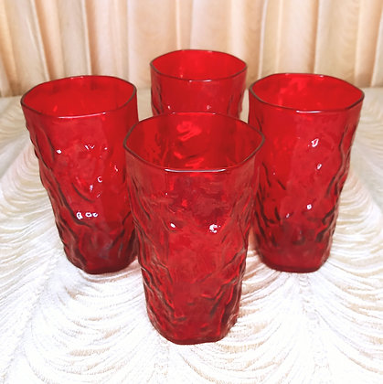 Morgantown Ruby Red Crinkle Glass Highboys Set of Four