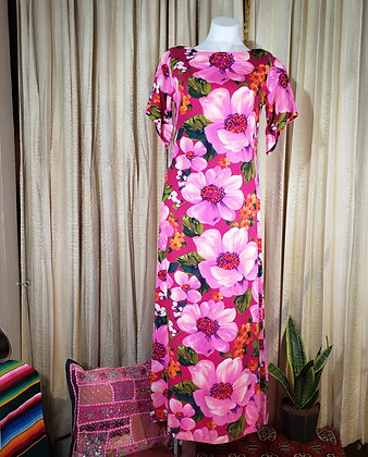 1960's Hawaiian Barkcloth Dress