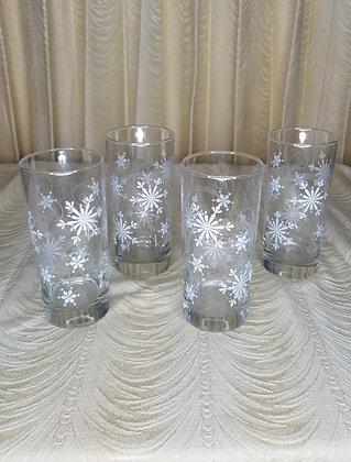 "Set of 4 Snowflake Highball Glasses 6"""